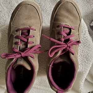 LL Bean  Beige and Burgundy Lace Up Sneakers